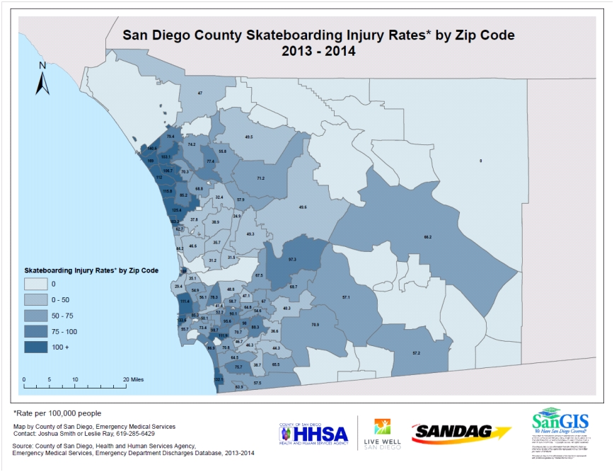 San Diego County Skateboarding Injury Rates by zip code 2013-2014